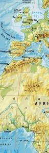 Foto van landkaart met nulmeridiaan