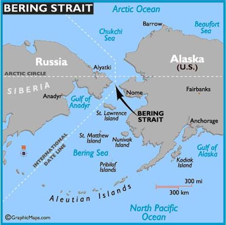 Kaart van de Internatonale Datumgrens in de Beringstraat tussen Rusland en Alaska
