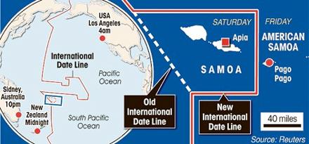 Kaartje van de wijziging van de datumgrens door Samoa op 31-12-2011
