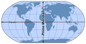 Afbeelding van de aarde met de nulmeridiaan