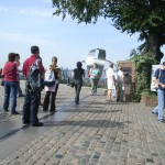 Picture of people on Meridian Line in Greenwich Observatory